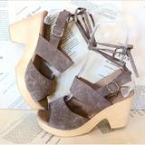 Free People Shoes | Free People Taupe Emboss Suede Ankle Strap Clog 40 | Color: Gray | Size: 40 99.5