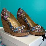 Nine West Shoes | Nine West Wild Thing Wedges | Color: Blue/Pink | Size: 8.5