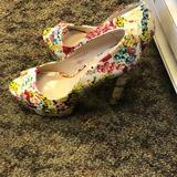 Nine West Shoes | Floral Peep Toe | Color: Pink/White | Size: 9.5