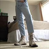 Urban Outfitters Shoes | Ecote Letter Combat Boots Whitecream Distressed | Color: Cream/White | Size: 8