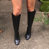 Michael Kors Shoes | Mk Black Leather Side Zip Up Knee High Boots | Color: Black | Size: 5.5