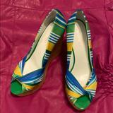 Nine West Shoes | Nine West Peep Toe Platform Shoes Size 7.5. Euc! | Color: Blue/Green | Size: 7.5