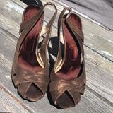 Nine West Shoes   Brown Metallic Suede Platform Peeptoe Wedges   Color: Brown   Size: 8