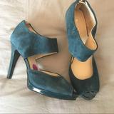 Nine West Shoes | Emerald Suede Peep Toe Shoes. | Color: Blue/Green | Size: 8.5