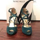Nine West Shoes | Nine West Blue-Green Suede Heels. | Color: Blue/Green | Size: 6.5