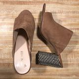 Nine West Shoes | Nine West Leather Checkered Heel Mules Sz 9 | Color: Tan/White | Size: 9