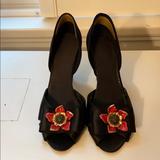 J. Crew Shoes | J. Crew Black Satin Dorsay Pumps | Color: Black/Red | Size: 8