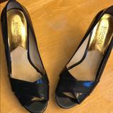 Michael Kors Shoes | Michael Kors Peep Toe Wedges (Navy Blue) | Color: Blue | Size: 9