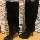 Nine West Shoes | Nine West Black Knee High Leathersuede Boots | Color: Black | Size: 6.5