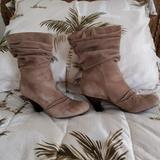 Jessica Simpson Shoes | Jessica Simpson Slip On Medium Heel Boot | Color: Tan | Size: 6