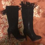 Nine West Shoes | Nine West Knee High High Heel Boots With Fringe | Color: Black | Size: 8