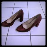 Nine West Shoes | Nine West Red Chunky Heel Pumps | Color: Red | Size: 8.5