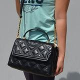 Tory Burch Bags   Nwt Tory Burch Fleming Quilted Top Handle Satchel   Color: Black/Gold   Size: Os