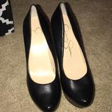 Jessica Simpson Shoes | Jessica Simpson Platform Heels Black Leather Heels | Color: Black | Size: 9