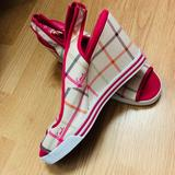 Coach Shoes | Coach Peep Toe Wedge | Color: Cream/Pink | Size: 7