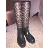 Coach Shoes   Coach Tall, Lace Up Back Rain Boots. Size 6   Color: Brown   Size: 6