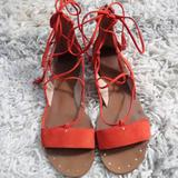Madewell Shoes | Madewell Red Lace Up Sandals | Color: Red | Size: 7.5