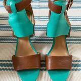 Nine West Shoes | Nine West Wizzy Wizzy Two Toned Sandal | Color: Green/Tan | Size: 8