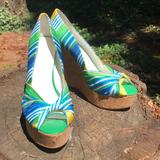 Nine West Shoes | Like New! Nine West Stacked, Peep Toe, Wedges | Color: Green/Yellow | Size: 8.5