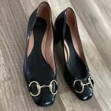 Gucci Shoes | Gucci Leather Flats Black Gold Buckle Heels Pumps | Color: Black | Size: 5b