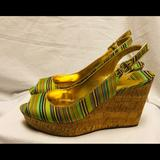 Nine West Shoes | Nine West Chabons Wedge Sandals- 8.5 | Color: Green/Yellow | Size: 8.5