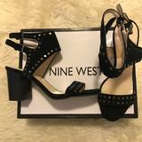 Nine West Shoes   New Studded Suede High Heel Sandals   Color: Black   Size: 7