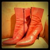 Nine West Shoes | Nine West Nwgoor Size 9 Red Leather Stiletto Boot | Color: Red | Size: 9