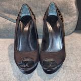 Gucci Shoes   Gucci Platform Satin Peep Toe Crystal Heels   Color: Black   Size: 7