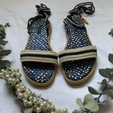 Louis Vuitton Shoes   Louis Vuitton Lace-Up Strappy Sandals   Color: Blue/Tan   Size: 9