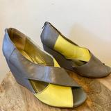Anthropologie Shoes   Euc Seychelles Gray & Yellow Peep-Toe Wedges   Color: Gray/Yellow   Size: 8.5