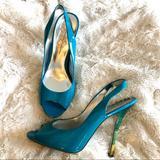 Jessica Simpson Shoes | Jessica Simpson Peep Toe Heels | Color: Green/Yellow | Size: 8.5