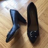 Nine West Shoes | Nine West Chunky Heel Black Leather Pumps Heels | Color: Black | Size: 6