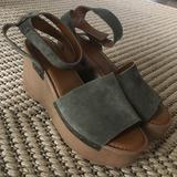 Anthropologie Shoes | Franco Sarto Olive Green Wedges | Color: Brown/Green | Size: 9.5
