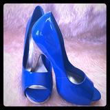 Jessica Simpson Shoes | Jessica Simpson Open Toe Blue Heels | Color: Blue | Size: 9