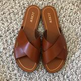 J. Crew Shoes   J. Crew Brown Leather Slip On Sandals   Color: Brown   Size: 8