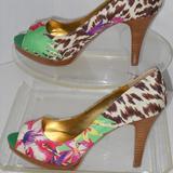 Nine West Shoes | Nine West Peep Toe Multi-Color Classic Pumps | Color: Green/White | Size: 7.5