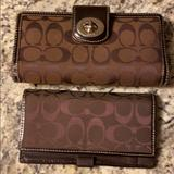 Coach Bags | Coach Wallet And Checkbook Cover Combo | Color: Brown | Size: Os