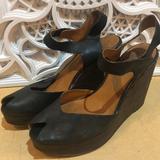 Nine West Shoes   Nine West Jolyn Black Leather Peep Toe Wedge   Color: Black/Brown   Size: 8.5