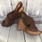 Nine West Shoes | Nine West Heels Peeptoe Wedge Slingback Shoes 8.5 | Color: Brown | Size: 8.5