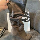 Nine West Shoes | Grey Suede Slouch Wedge Boots | Color: Gray | Size: 9