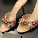 Gucci Shoes | Gucci Flora Canvas Bamboo Horsebit Sandals | Color: Red/White | Size: 8