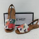 Nine West Shoes | Nine West Izzio Canvas Sandal | Color: Tan/White | Size: 8.5