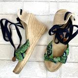 J. Crew Shoes   J. Crew Marianne Lace Up Wedge Espadrilles Paisley   Color: Green   Size: 7