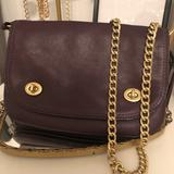 Coach Bags | Nwt Coach Dark Violet Purse With Chain Strap !! | Color: Purple/Tan | Size: Os