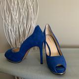 Nine West Shoes | Nine West Blue Suede Peep Toe Heels Sz 8 | Color: Blue | Size: 8