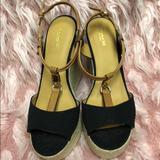 Coach Shoes | Coach Platform Wedge Sandal Size 9.5b | Color: Black/Tan | Size: 9.5b
