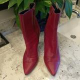 Nine West Shoes | Nine West Red Leather Ankle Boots | Color: Black/Red | Size: 8