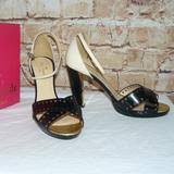 Kate Spade Shoes | Kate Spade Filmstrip Heels Sandals Black & Cream 9 | Color: Black/Cream | Size: 9