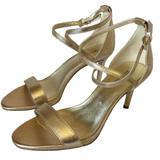 Michael Kors Shoes | M.Kors Ava Mid Gold Leather Heel Sandals 6.5|8|8.5 | Color: Cream/Gold | Size: Various