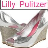 Lilly Pulitzer Shoes | Lilly Pulitzer Resort Chic Peep Toe Wedge Sandals! | Color: Silver | Size: 7